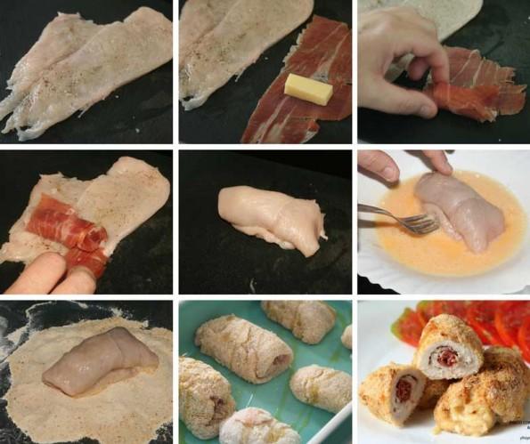 pollo con jamon y queso al horno receta
