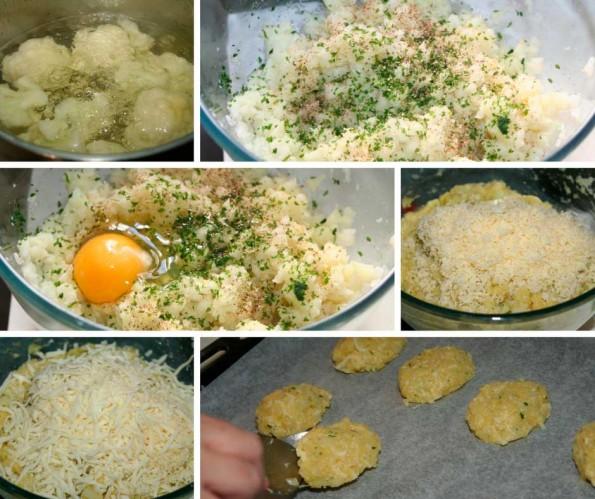 pasteles de coliflor y queso receta
