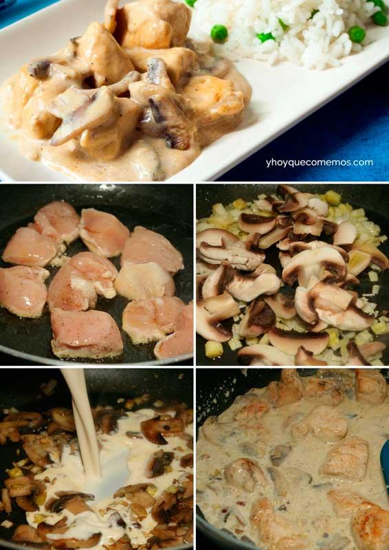 pollo con champinones receta
