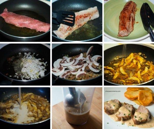 solomillo con salsa de champiñones receta