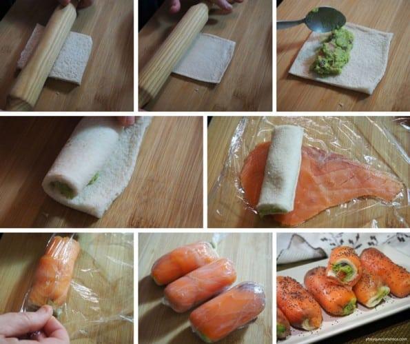 receta de rollitos de salmon y guacamole