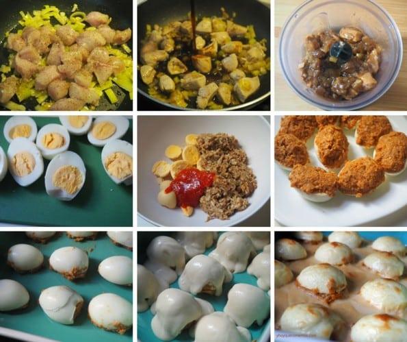 huevos rellenos de pollo receta