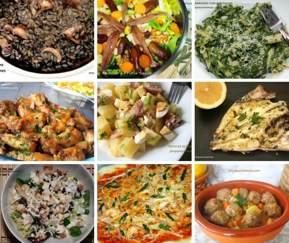 ideas de platos para el menu de la semana