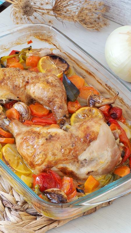 como hace pollo con verduras al horno