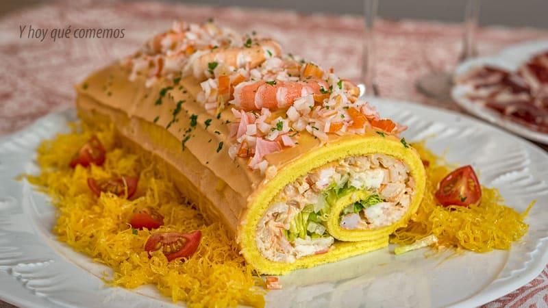 receta de brazo gitano de pescado y marisco