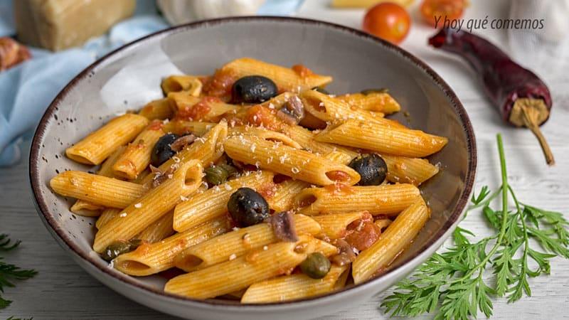 macarrones a la puttanesca receta pasta facil