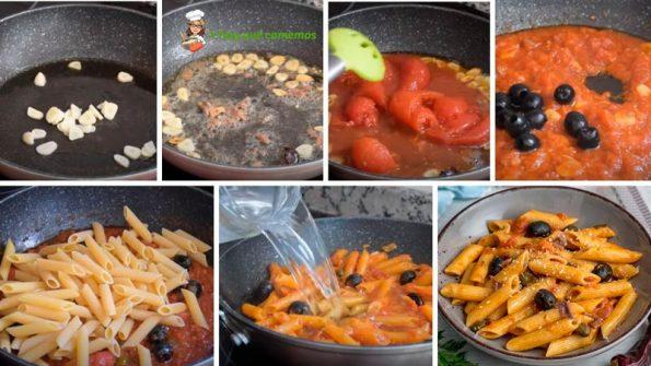 como hacer paso a paso pasta con salsa a la puttanesca