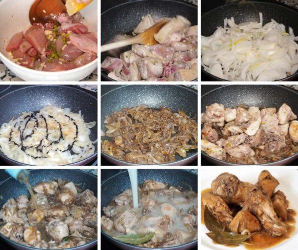 paso a paso receta pollo encebollado