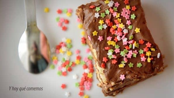 como hacer tarta de galletas y chocolate muy rápida