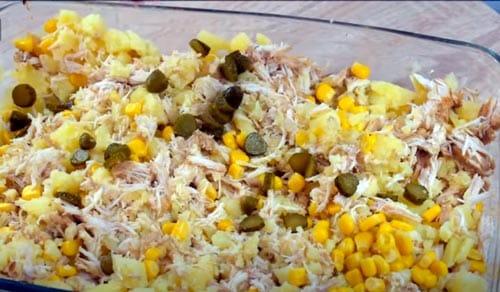 ingredientes para la ensaladilla de pollo escabechado